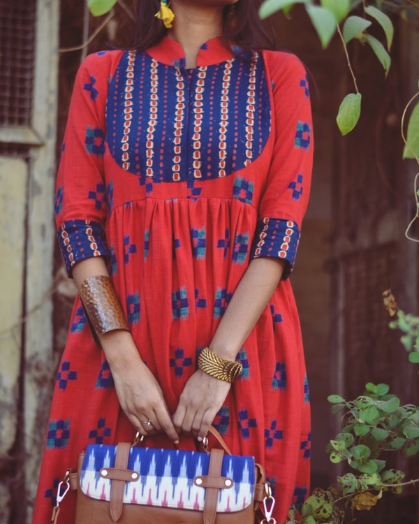 Red and blue patch kurta 1