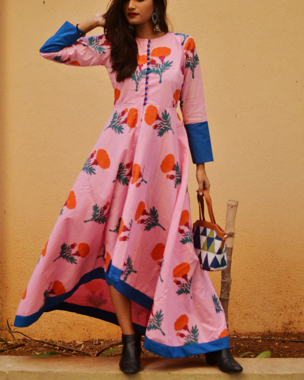 Pink printed high low dress 2