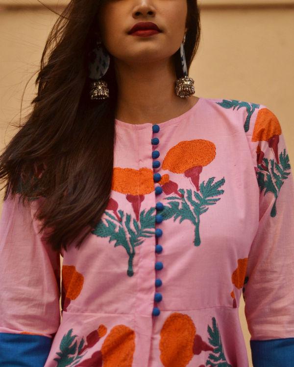 Pink printed high low dress 1