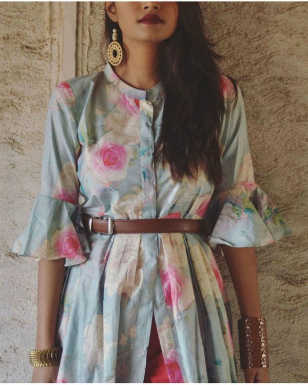 Blue floral bell sleeve dress 1