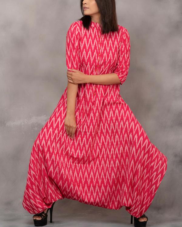 Ikat dhoti pink tunic 1