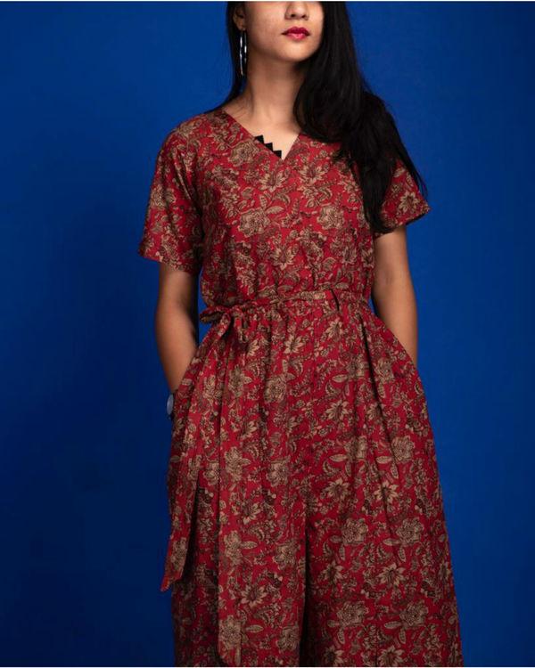 Red floral slit jumpsuit 1