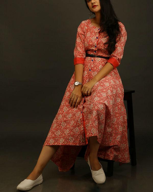 Red printed asymmetric dress 1