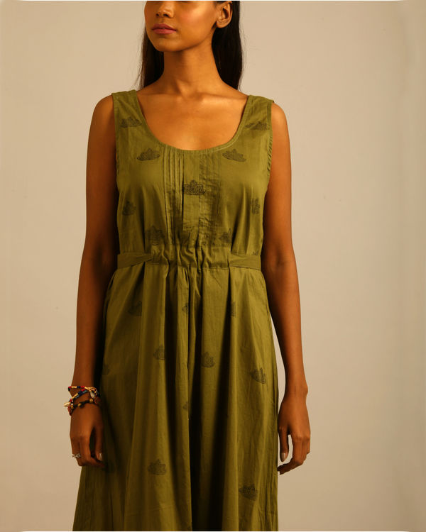 Green lotus block print tunic 1