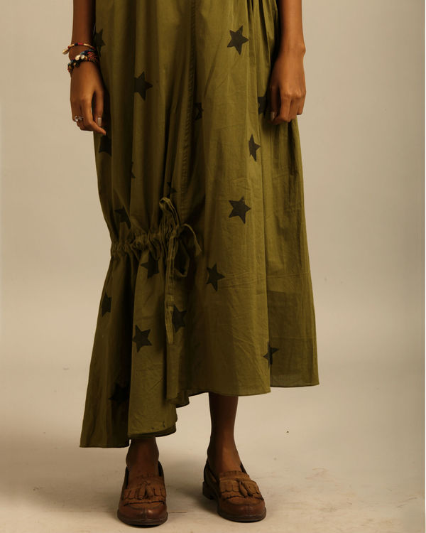 Green star print dress 3