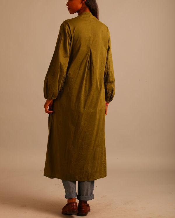 Green block print tucks dress 2