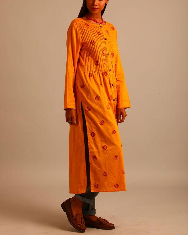 Yellow floral print dress 1