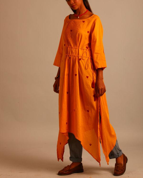 Yellow asymmetric tassels dress 1