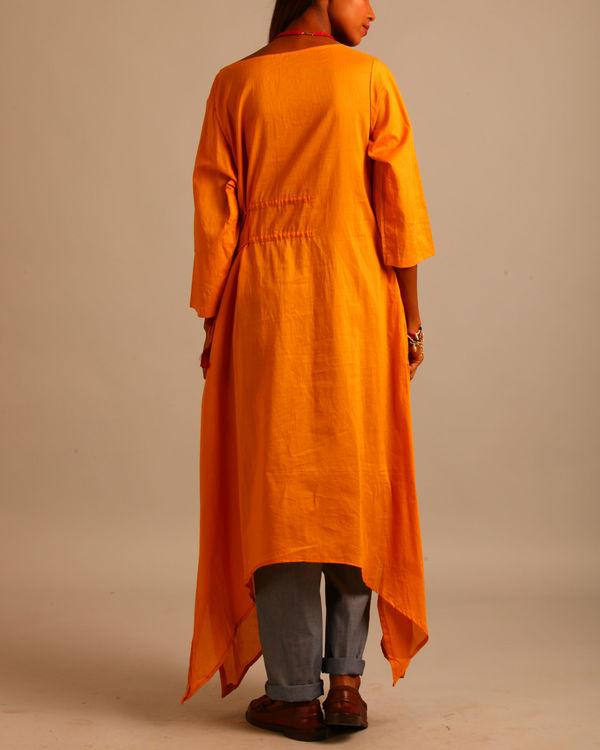 Yellow asymmetric tassels dress 3