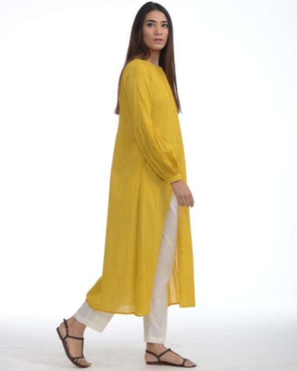 Mustard jacket kurta with pants 2