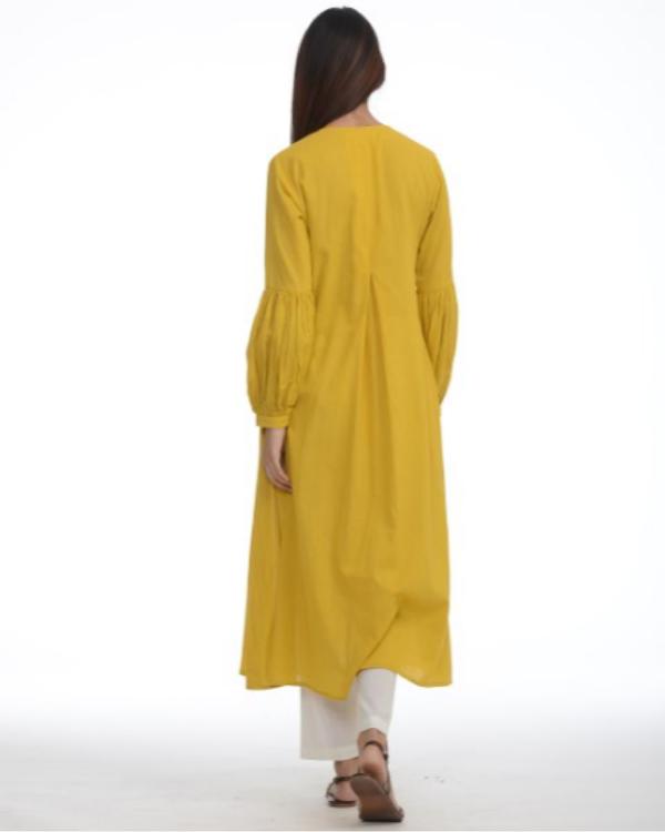 Mustard jacket kurta with pants 1