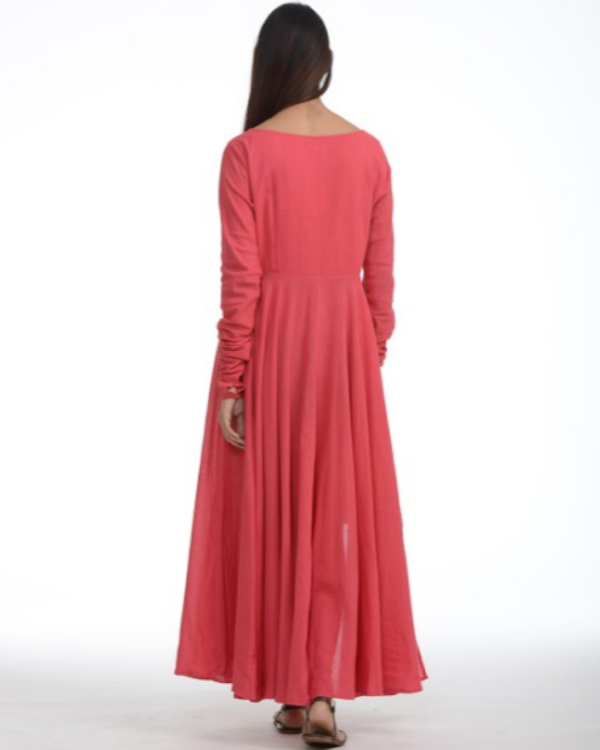 Coral pink asymmetric dress 1