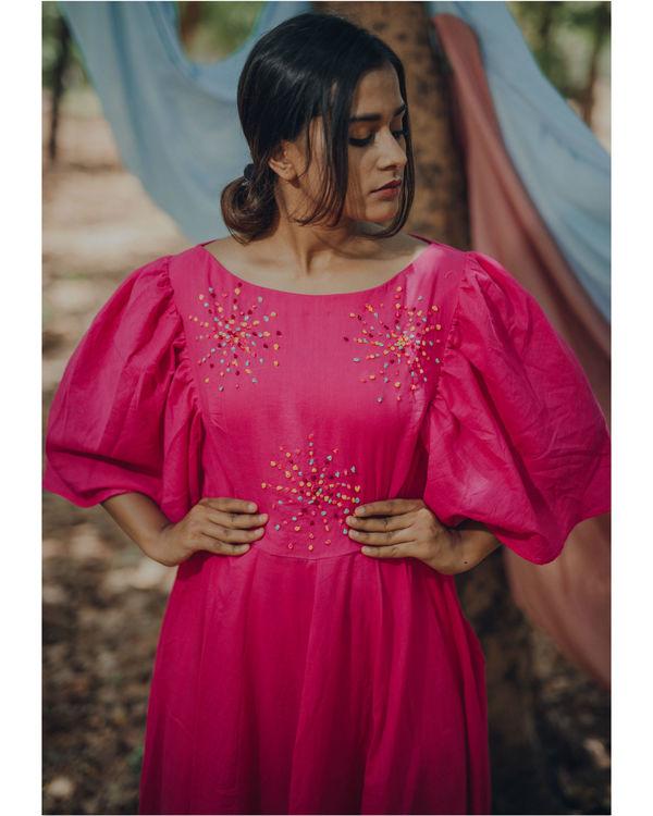 Vibrant pink frill dress 2