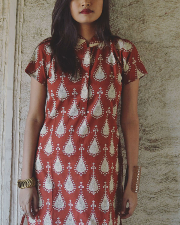 Red tribal print kurta 1