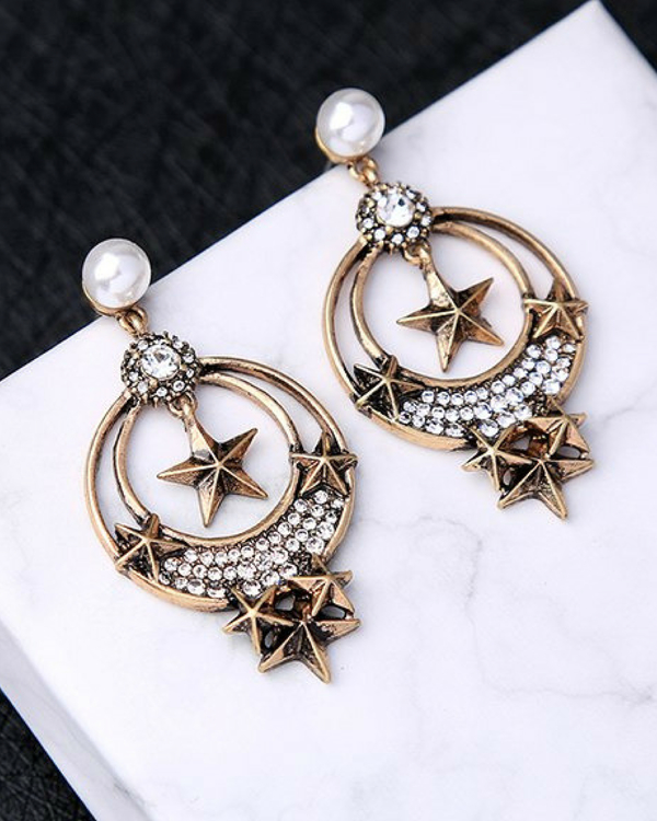 Rhinestone dangling antique earrings 1