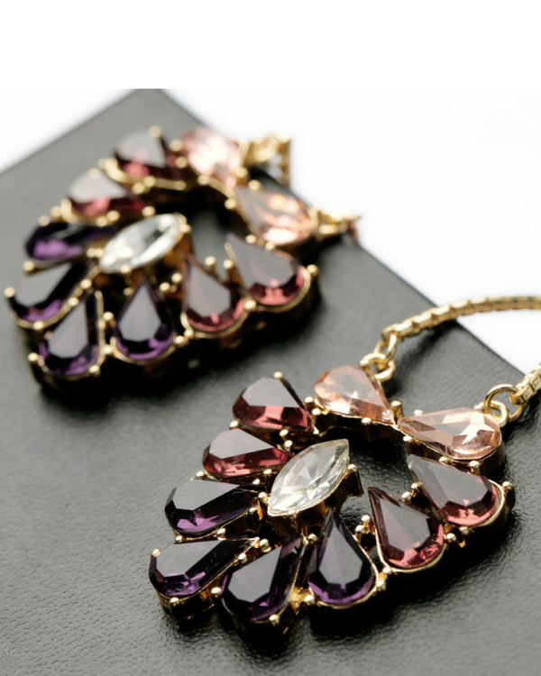 Leaves crystal earrings 1