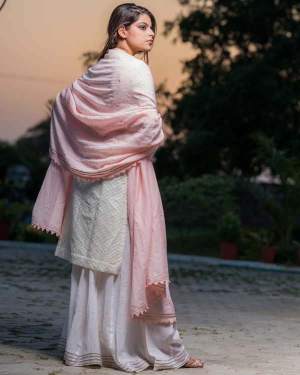 Ivory chanderi kurta with pants 1