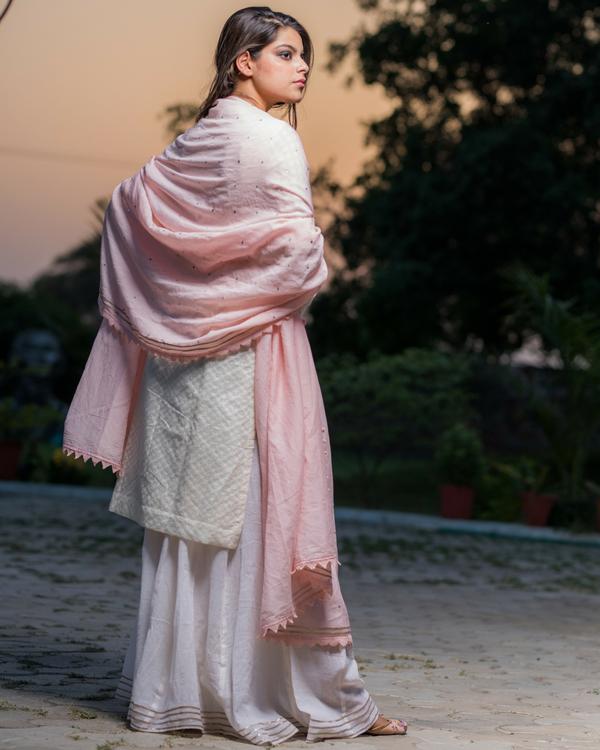 Ivory chanderi kurta with pants 1