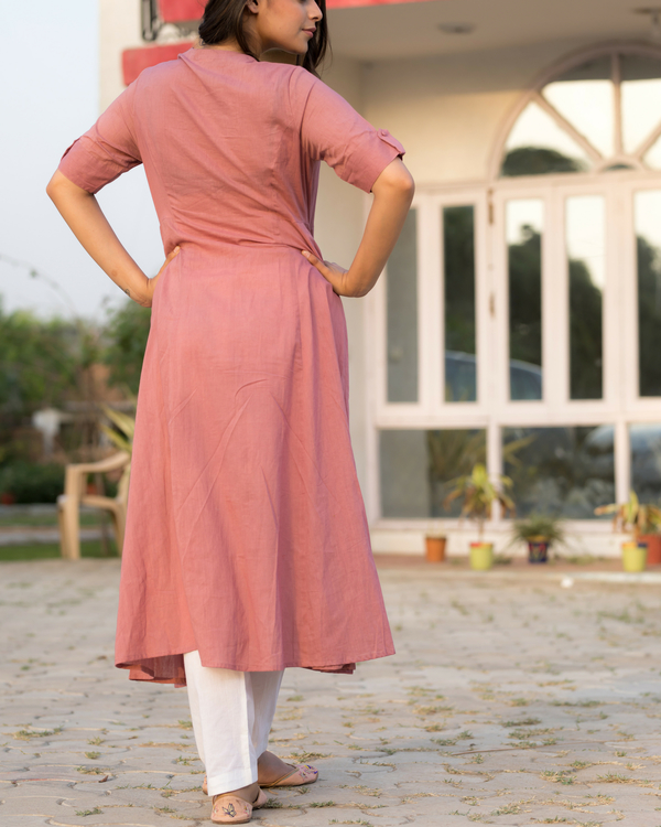 Blush rose jacket kurta with pants 1