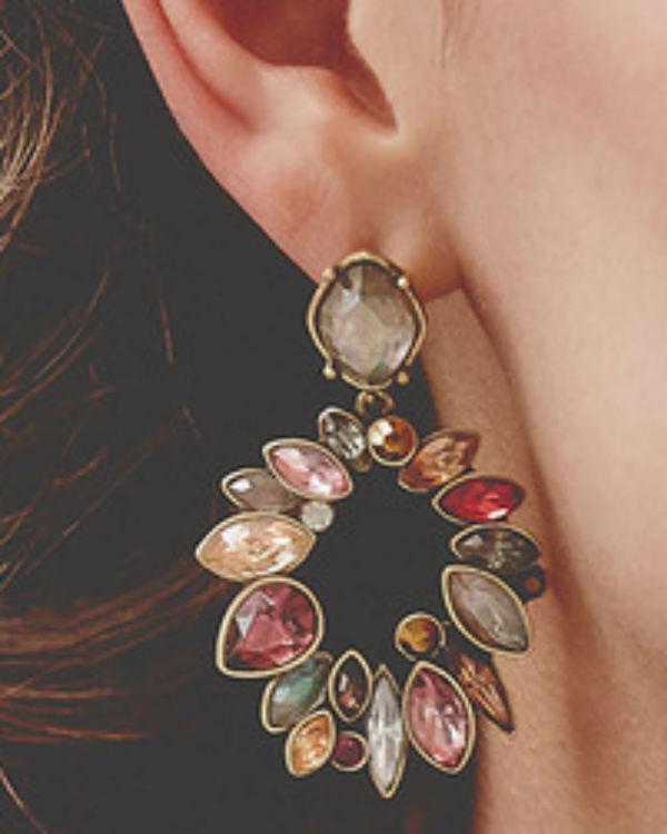 Multicolour stone round earrings 1