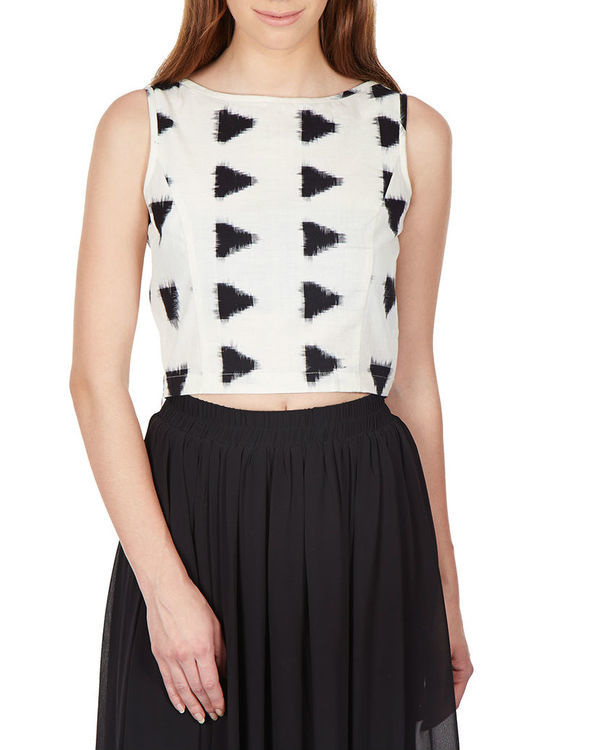 Monochrome ikat crop top 1