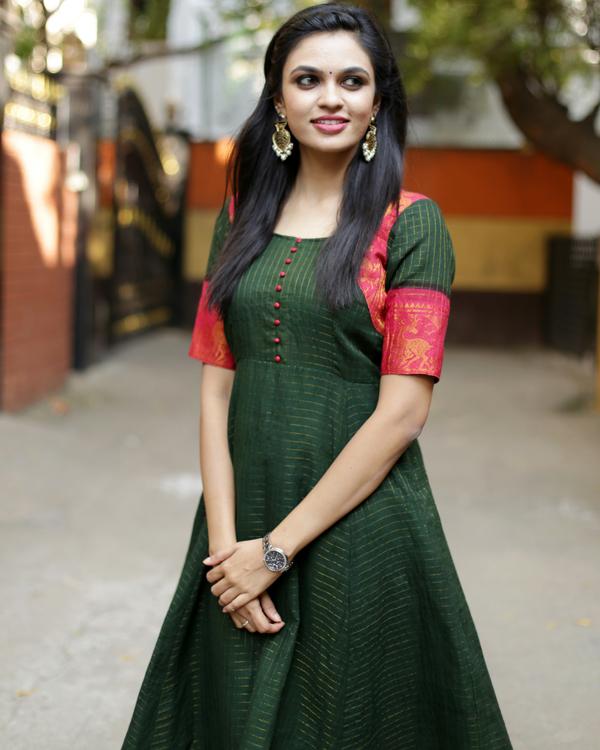 Forest green anarkali dress 1