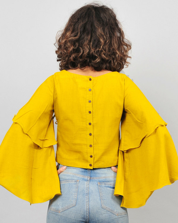 Yellow bell sleeves top 1