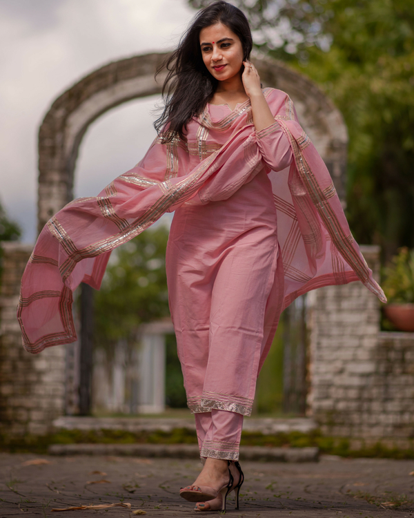 Pink gota embroidered cotton set 1