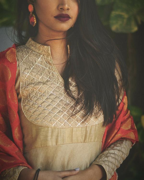 Golden beige dress with dupatta 1
