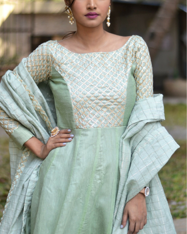 Pastel green kurta with dupatta 1