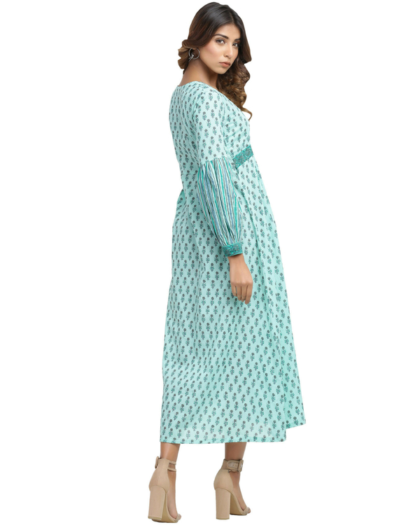 Turquoise fit and flare dress 1