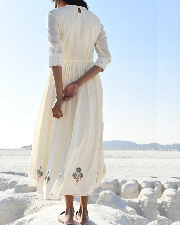 Rusty white kantha maxi dress 1
