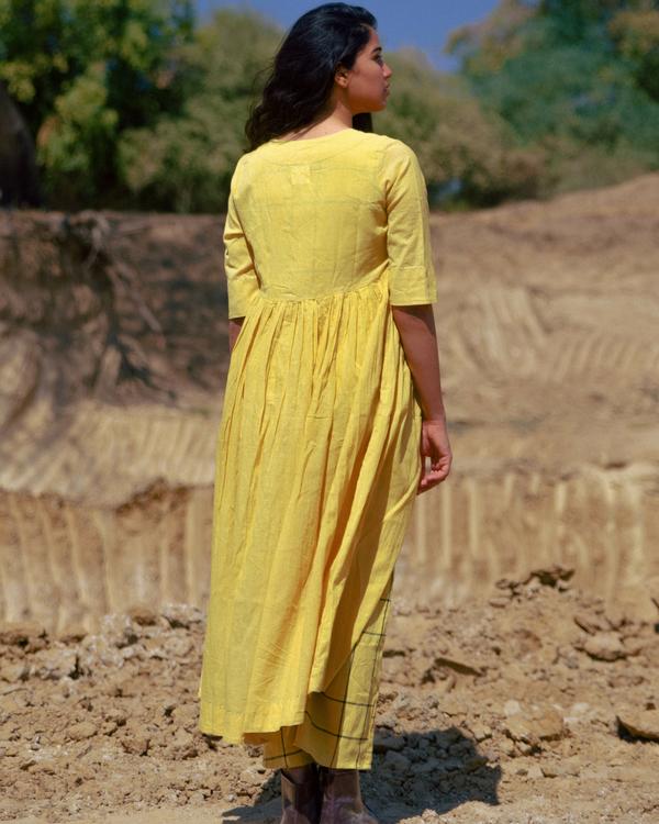Mustard handloom gathered jacket with crop top set 1