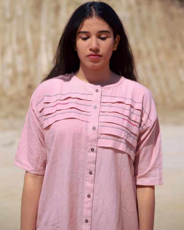 Dusty pink pleated dress 2