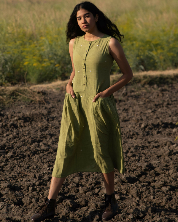 Moss green khadi dress 1