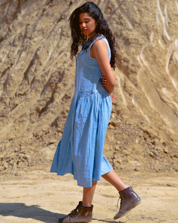 Sky blue khadi dress 1