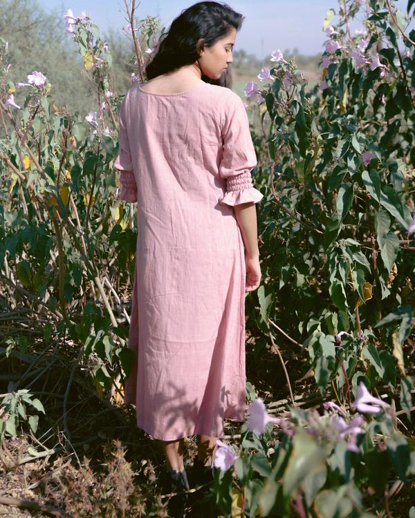 Crimson flowers dusty pink dress 1