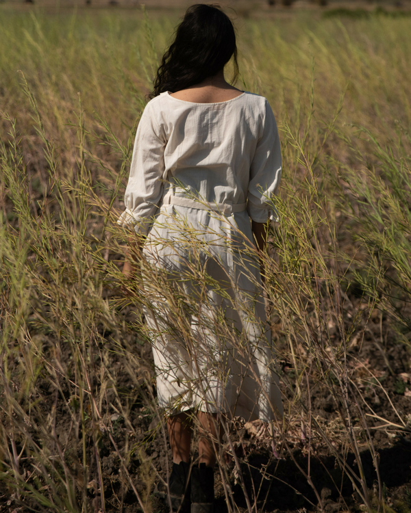 Khadi white tunic with belt 1