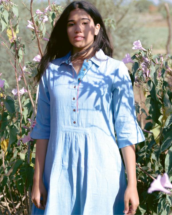 Ice blue cotton shirt dress 1