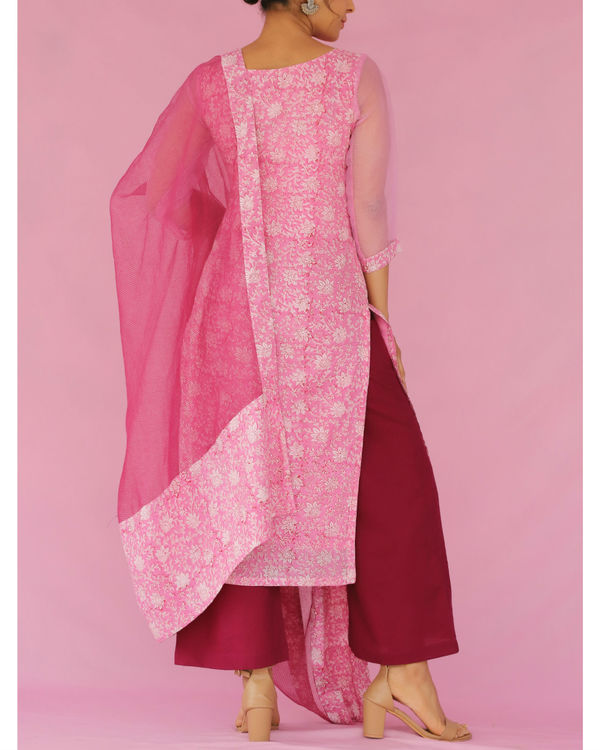 Pink and purple printed suit set 2