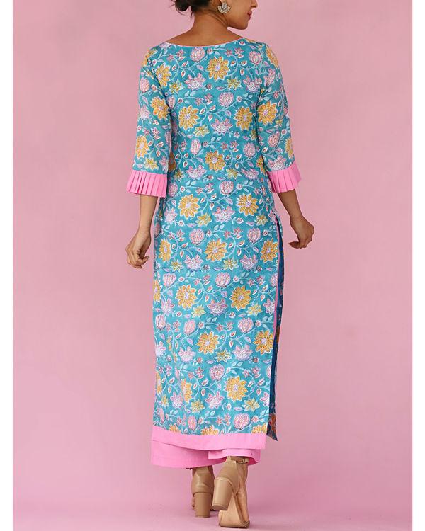 Blue floral print kurta set 2