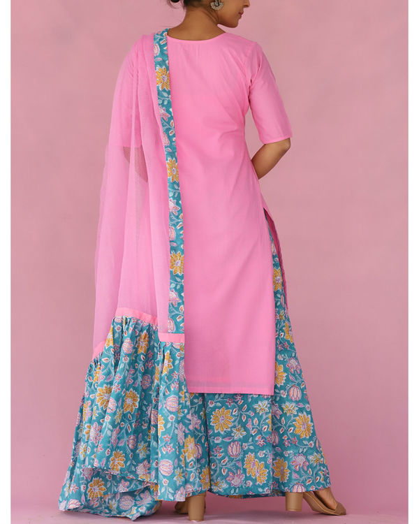 Pink and blue kalidar palazzo set 1