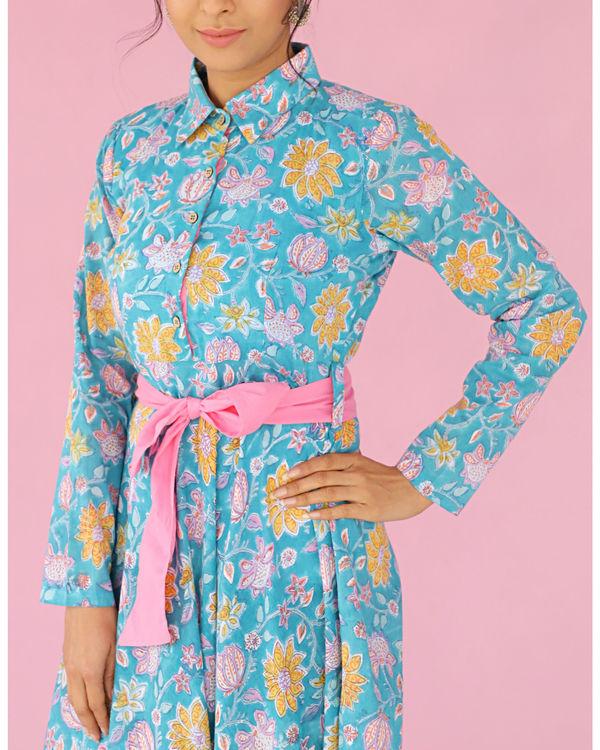 Blue printed front tieup dress 2