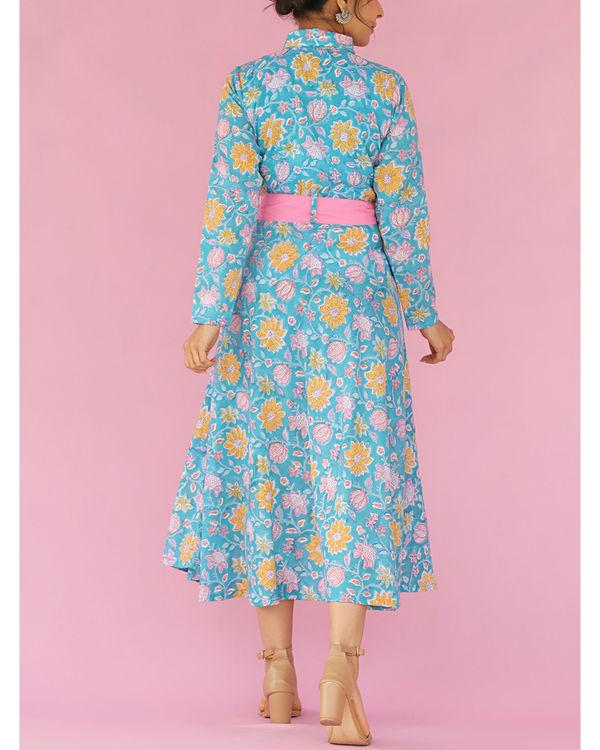 Blue printed front tieup dress 1