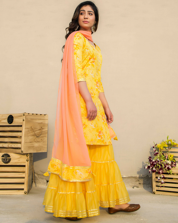 Marigold sharara set with dupatta 1