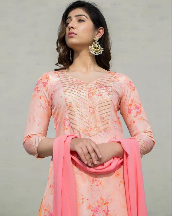 Peach and pink sharara set 1