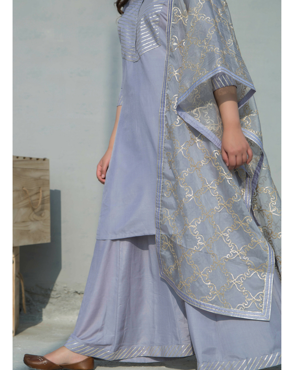 Grey charkhi set with dupatta 2