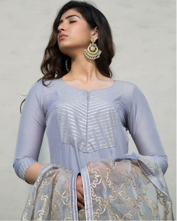 Grey charkhi set with dupatta 1
