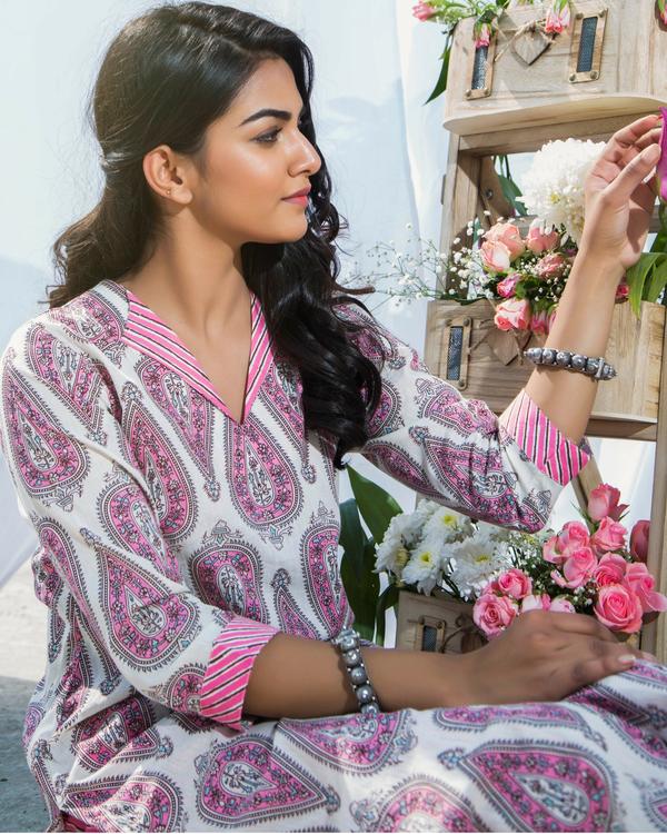 Pink printed cotton kurta with pants 1