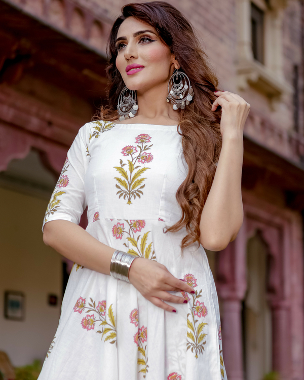 White handblock printed kurta with palazzos 1